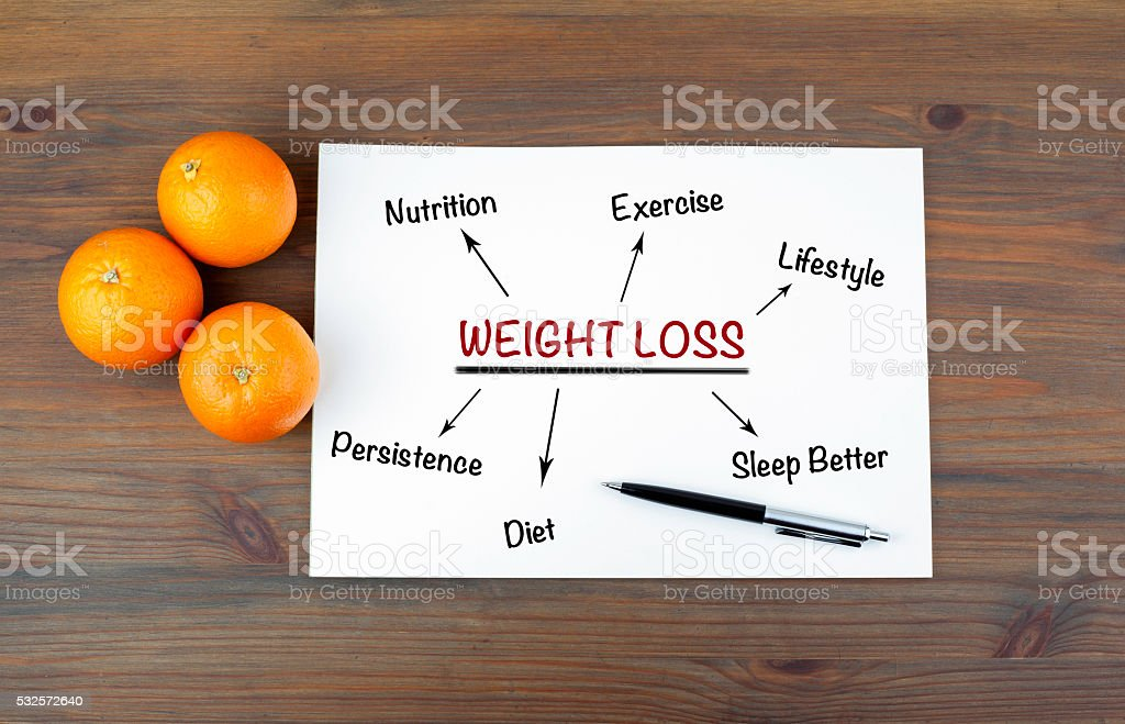 Wooden background with oranges and Weight Loss concept stock photo