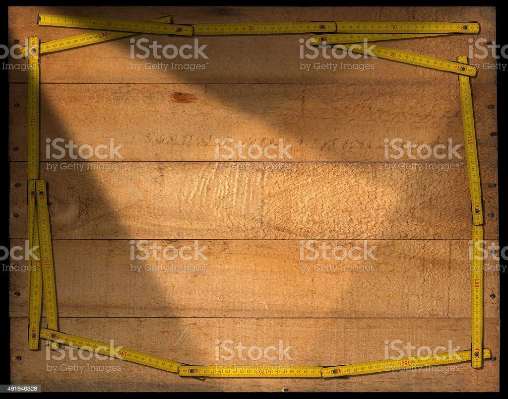 Wooden Background with Ruler Frame stock photo