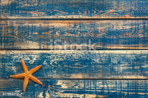 istock Wooden background with starfish 471953212