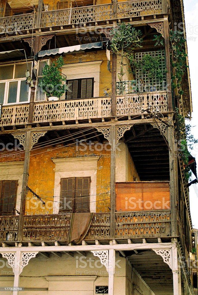 Wooden balconies stock photo