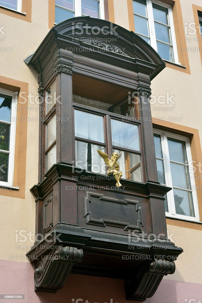 Wooden balcony in Nuremberg, Germany. stock photo