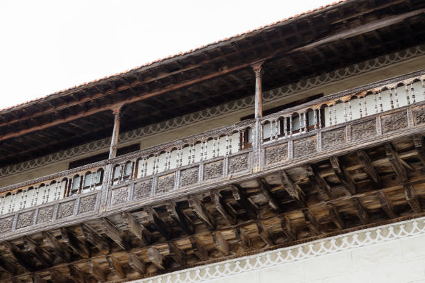 Wooden balcony with flower carvings in La Orotava, Tenerife, Spain stock photo