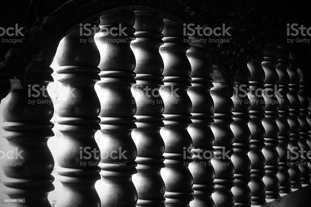 Wooden balustrade in Thai temple stock photo