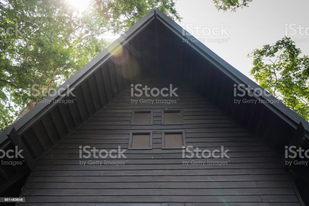 Wooden bangalow in hotel resort stock photo