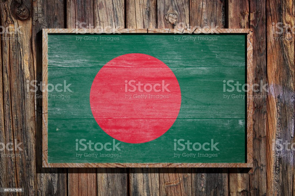 Wooden Bangladesh flag stock photo