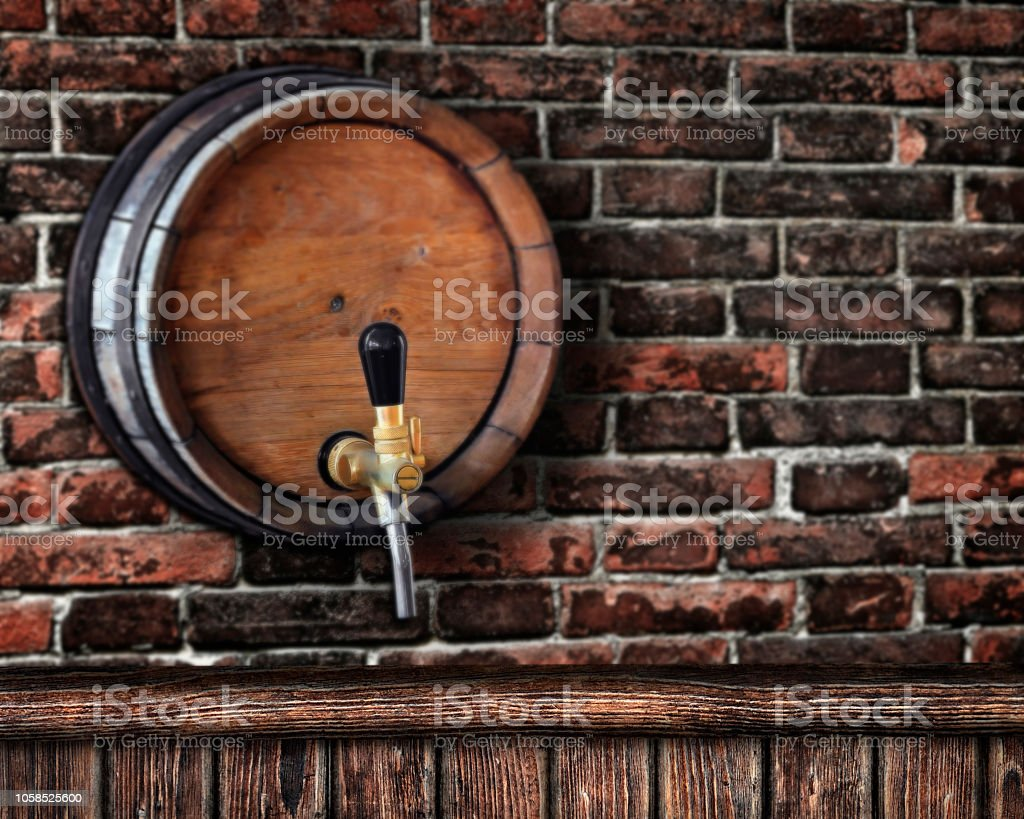 Wooden Bar Counter With A Beer Barrel On A Brick Wall In The Background Stock Photo Download Image Now Istock