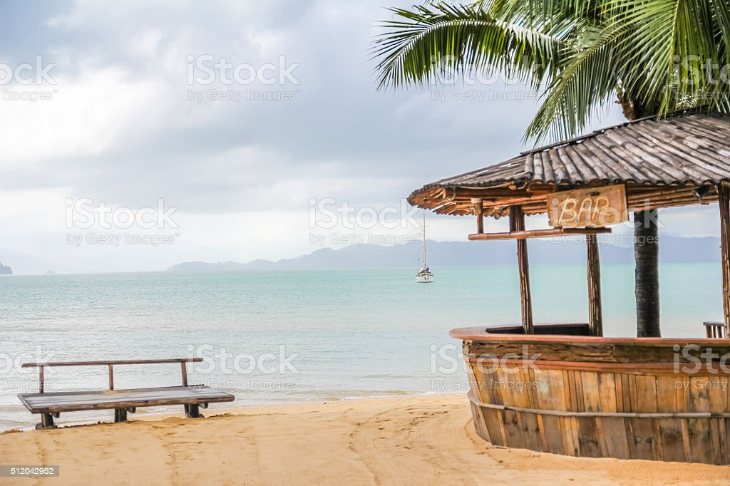 Wooden bar on the beach stock photo