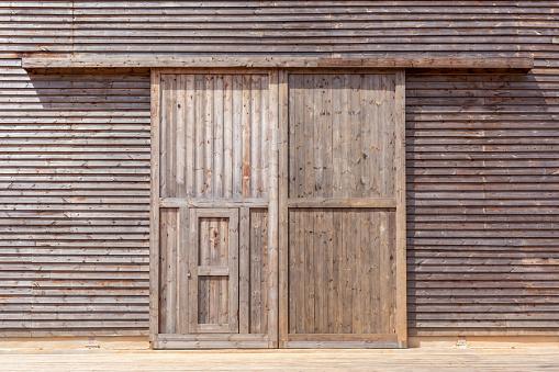 Wooden barn door.