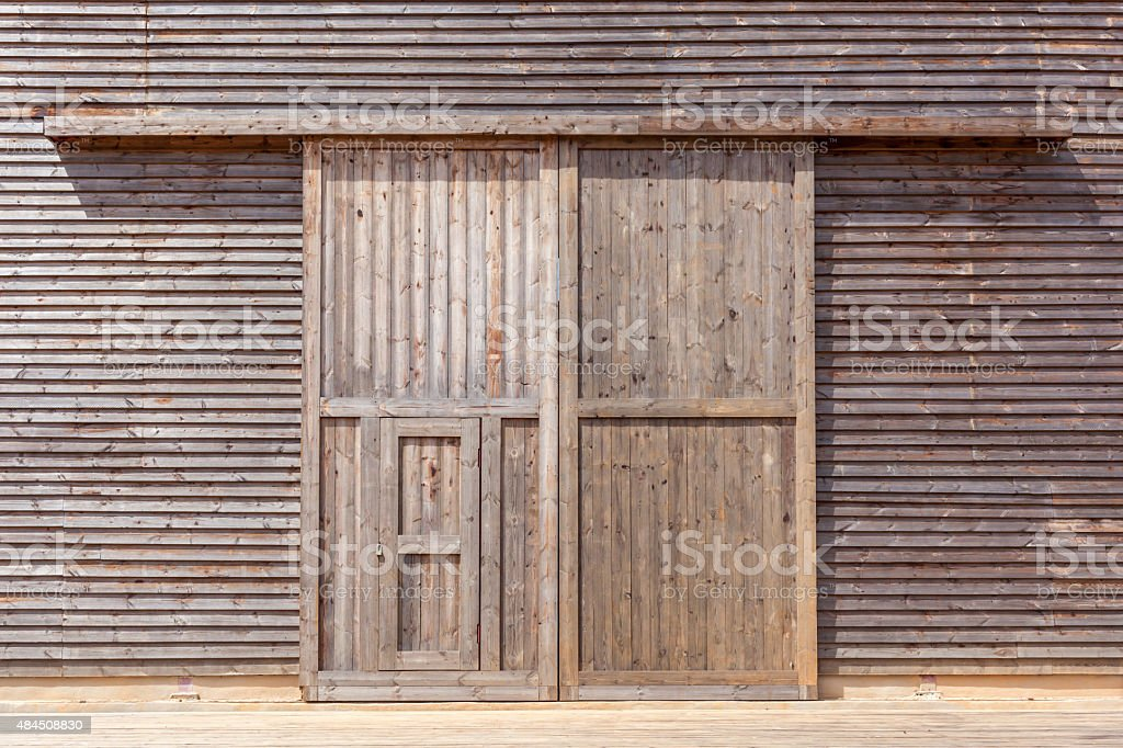 Wooden barn door. stock photo