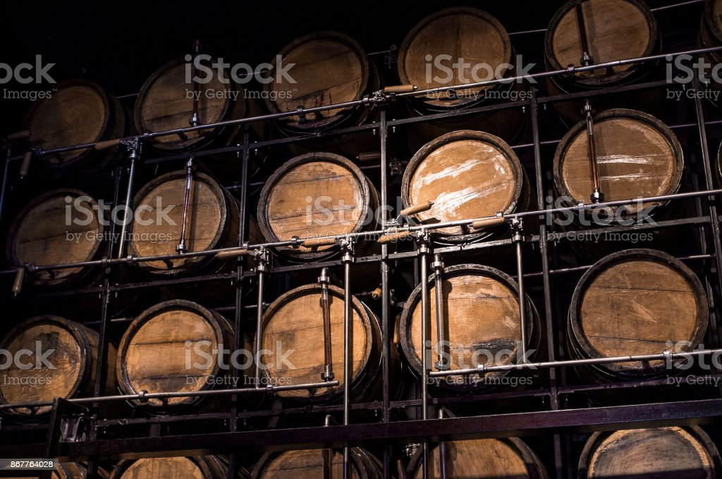 Wooden Barrel Alcohol stock photo