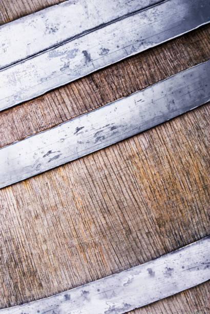 Wooden barrel as background with copy space stock photo