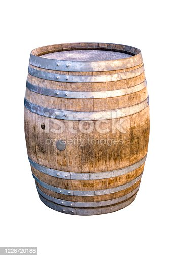 Wooden barrel for champagne, wine, whiskey, rum, beer, with steel ring on white background.