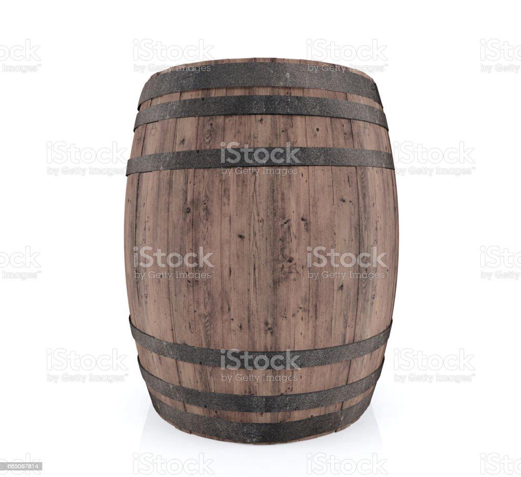 Hölzerne barrel, isoliert auf weißem Hintergrund – Foto