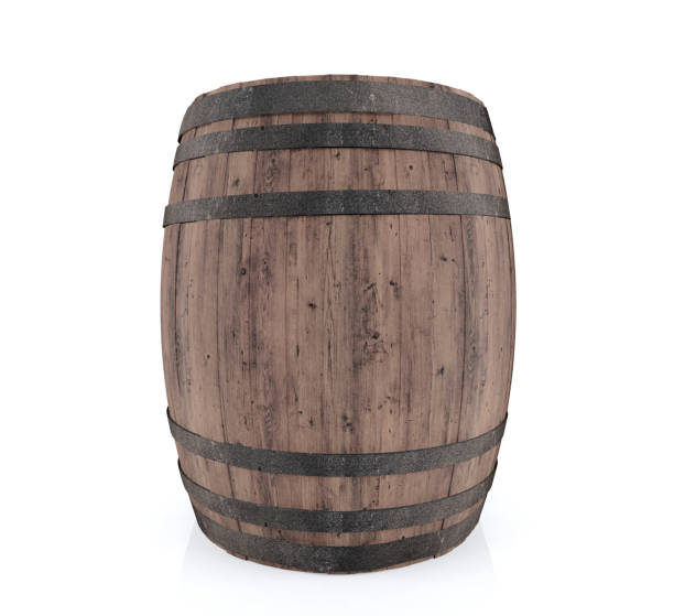 Wooden barrel isolated on white background - foto stock