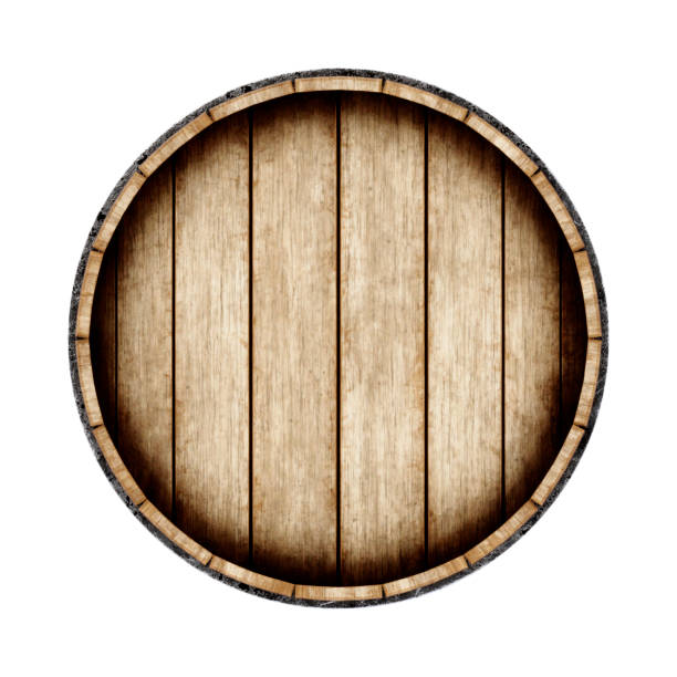 wooden barrel isolated on white background, top view. 3d rendering. old wine, whiskey, beer barrel. - barrica imagens e fotografias de stock