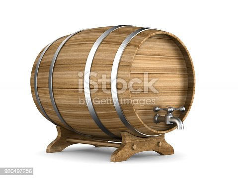 istock Wooden barrel on white background. Isolated 3D illustration 920497256