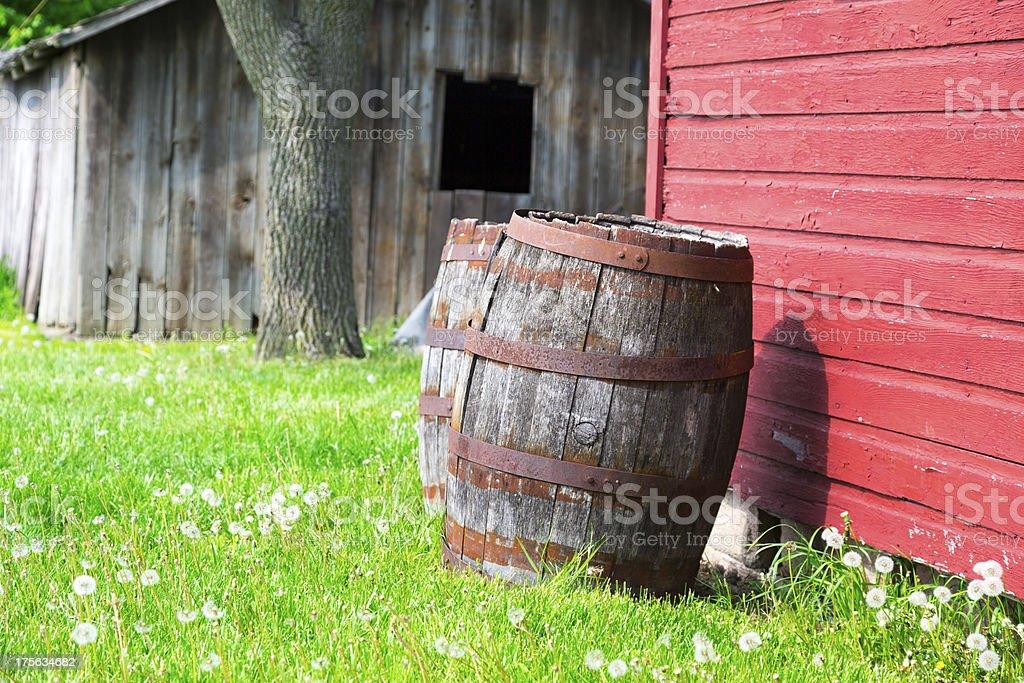wooden barrel stock photo