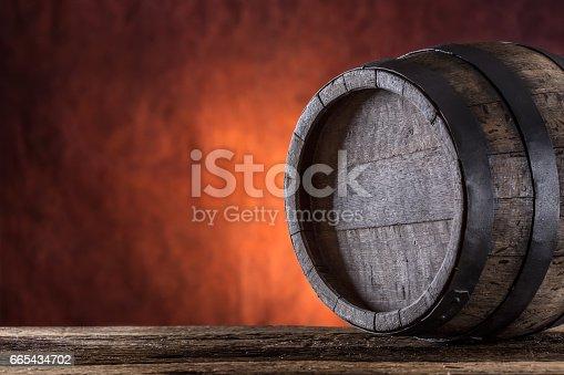 istock Wooden barrel. 665434702