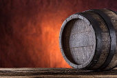 Wooden barrel.