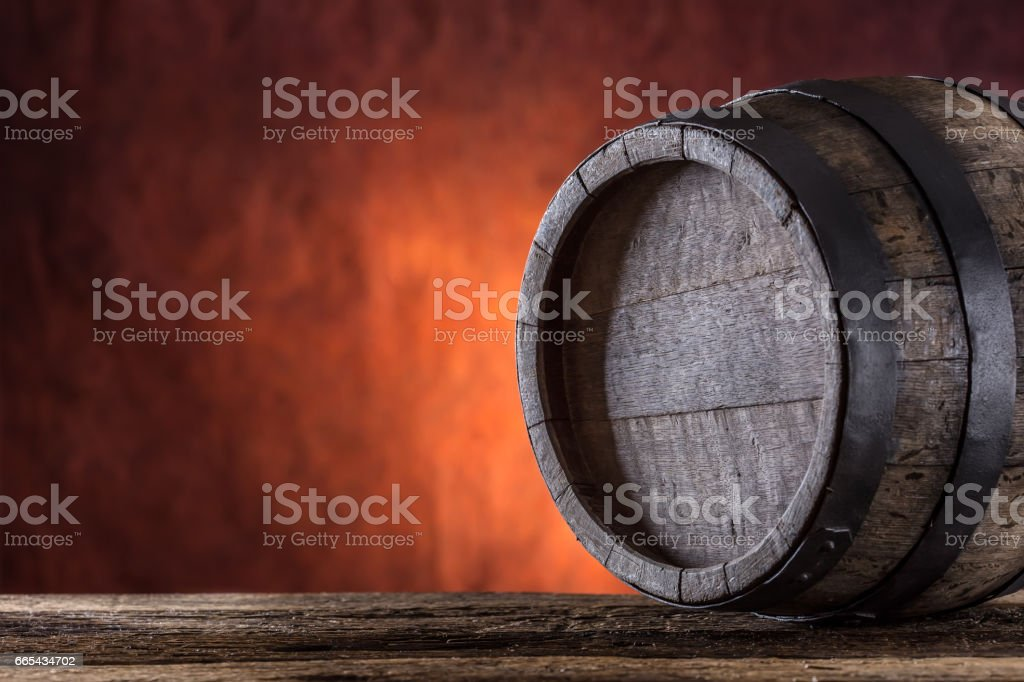 Wooden barrel. stock photo