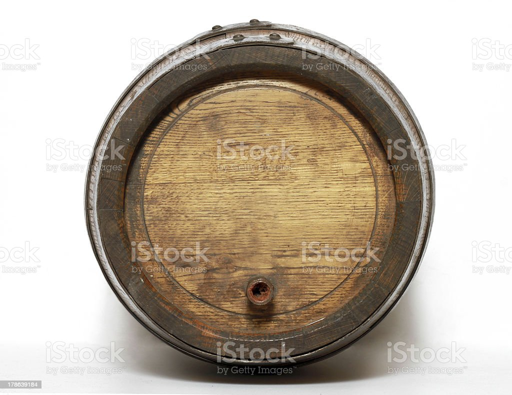 Wooden barrel with iron rings. stock photo