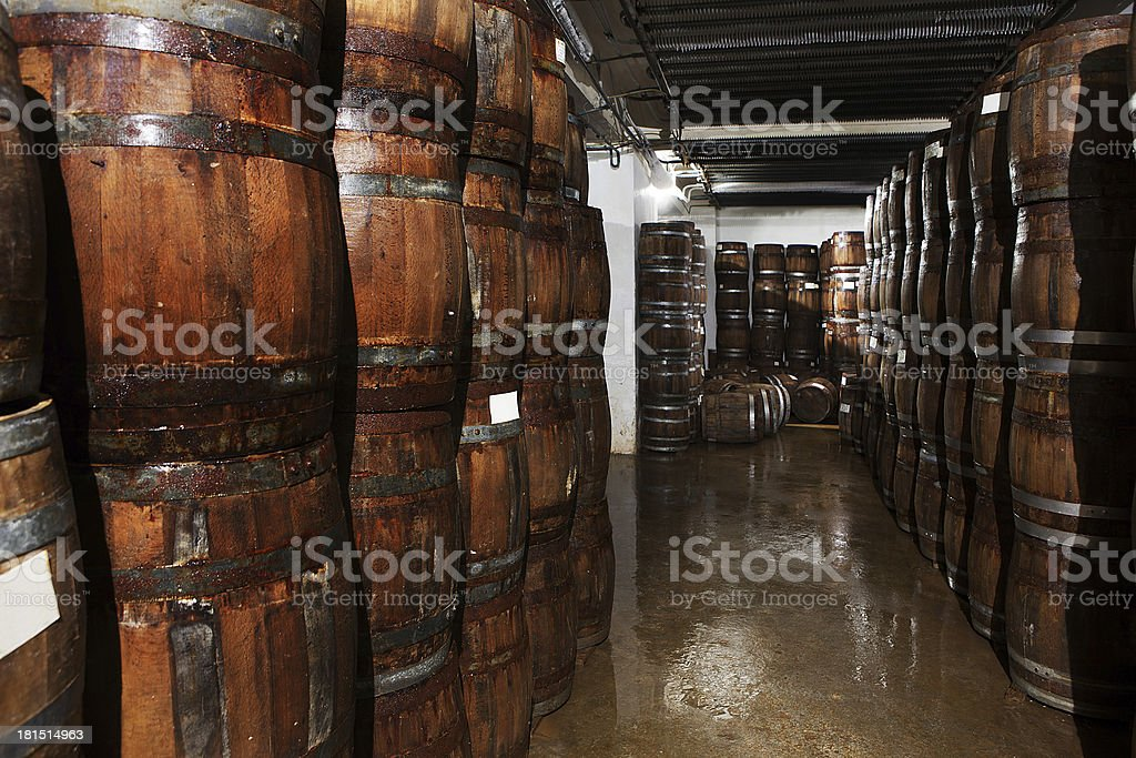 wooden barrels in the cellar royalty-free stock photo