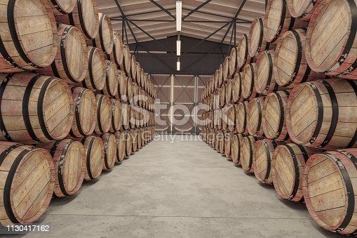 Wooden barrels in Warehouse