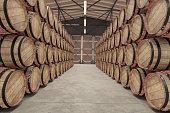 Wooden barrels in Warehouse