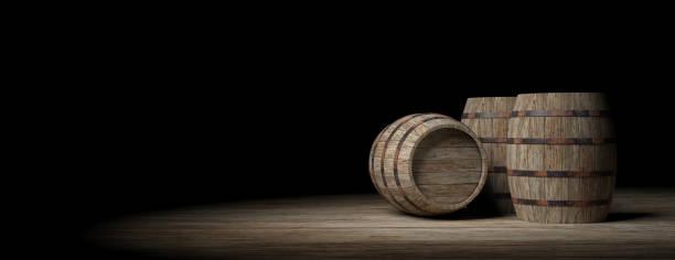 Wooden barrels on dark background. 3d illustration stock photo