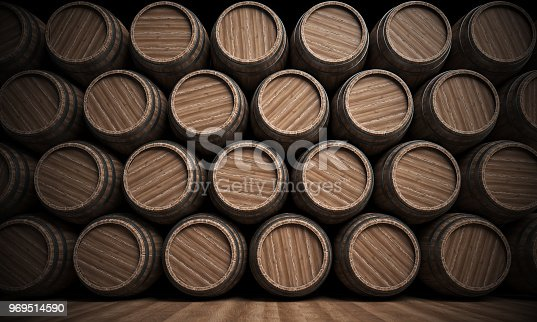 istock Wooden barrels stack isolated on white background, Wine cellar 969514590