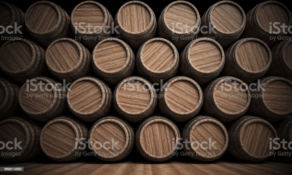 Wooden barrels stack isolated on white background, Wine cellar stock photo