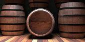 Winemaking, wine storage concept. Old wooden alcohol barrel, dark wine cellar background, copy space, 3d illustration