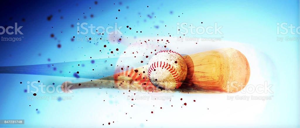 wooden baseball bat hitting a ball stock photo