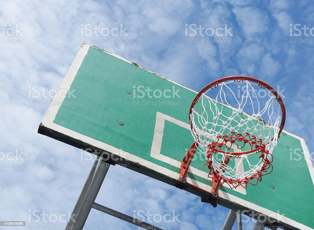 Street basketball, Wooden basket hoop on blue sky