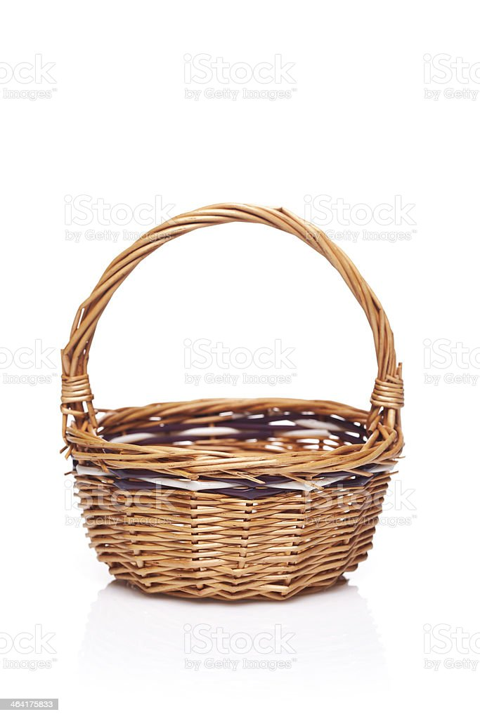 wooden basket stock photo