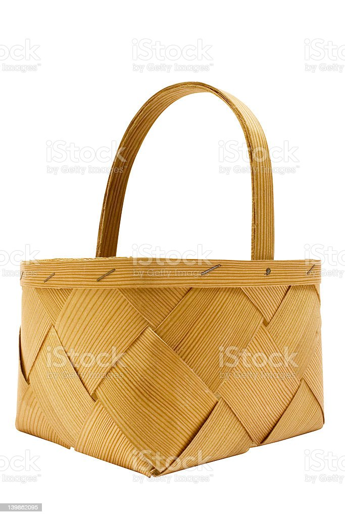 Wooden Basket w/ Path royalty-free stock photo