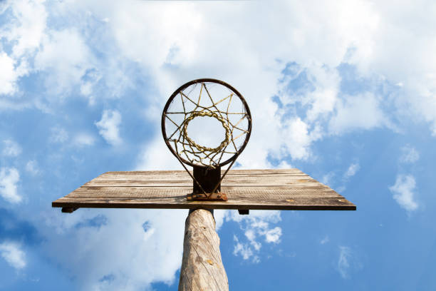 Wooden Basketball   board with hoop stock photo