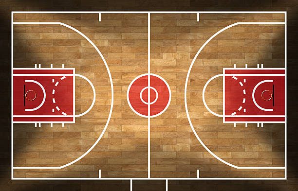 Wooden Basketball Court with Parquet stock photo
