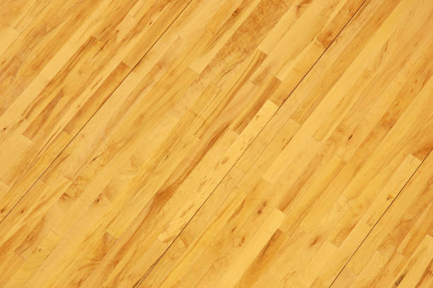 Wooden Basketball Floor Shot Overhead at Diagonal stock photo