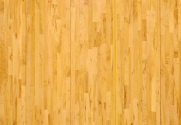 Wooden Basketball Floor Shot Overhead Horizontal stock photo