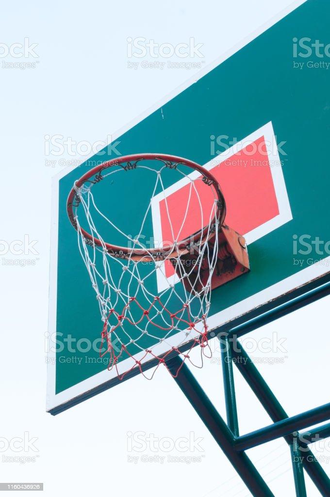 Wooden Basketball hoop on blue sky ,Basketball basket on blue sky