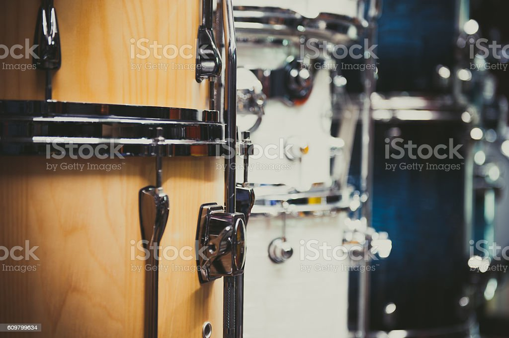 Wooden bass drum detail musical instrument stock photo
