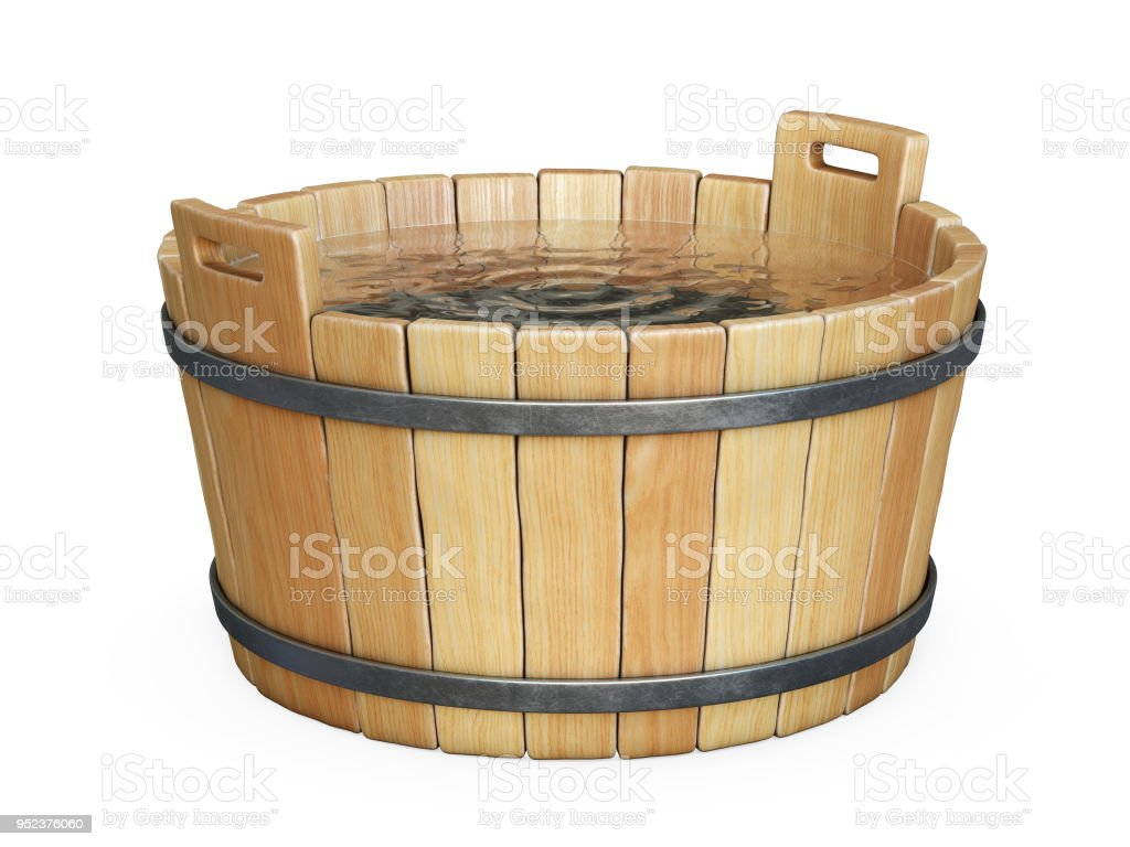 Wooden Bath Tub Filled With Water Isolated On White Background Royalty Free Stock Photo