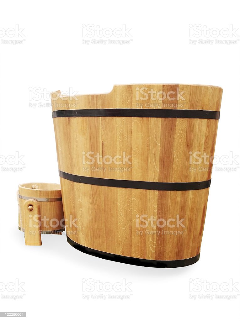 wooden bathtub stock photo