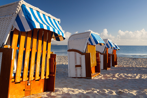 Wooden beach chairs on Rugen island