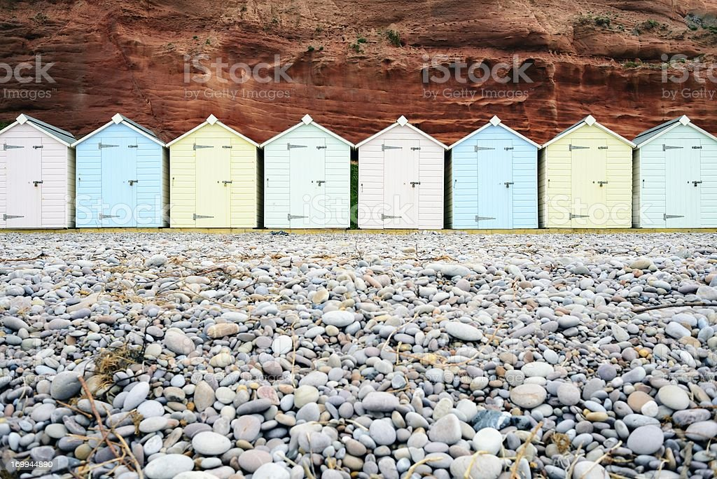 Wooden Beach Huts stock photo