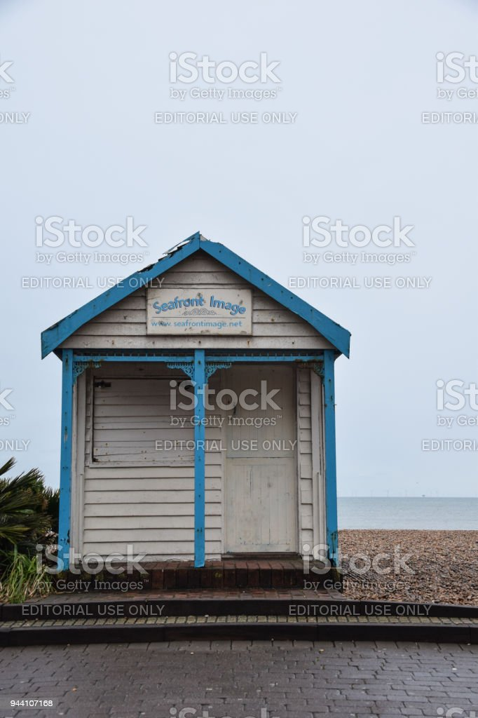 A wooden beachfront belonging to Seafront images, by the Kings road seafront stock photo