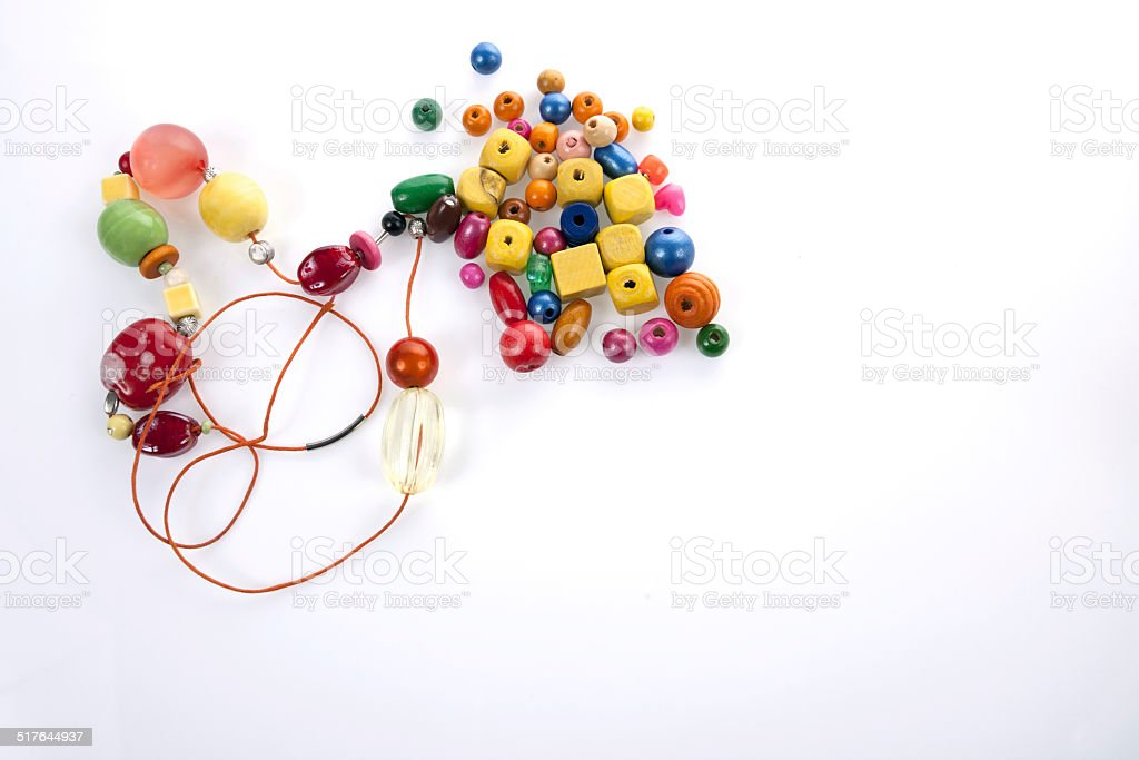 Wooden beads stock photo