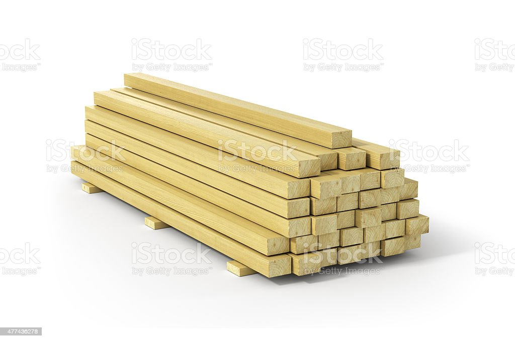 Wooden beams and planks. Construction material. stock photo