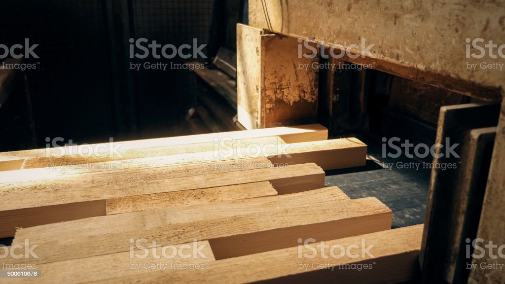 Wooden beams at the end of the drying process. stock photo
